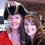 Pirate Captain Roxanne Glaser and @Tparks, pirate volunteer
